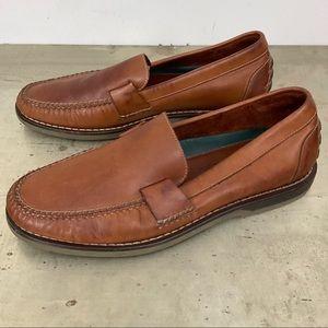H S Trask Moc Toe Brown Leather Slip On Loafer